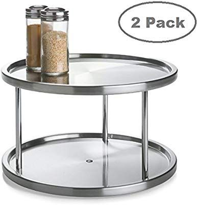 2 Tier 2 Pk Lazy Susan Stainless Steel 360 Degree Turntable Rotating 2 Level Tabletop Stand For Your Dining Tabl Spice Rack Organiser Lazy Susan Spice Rack