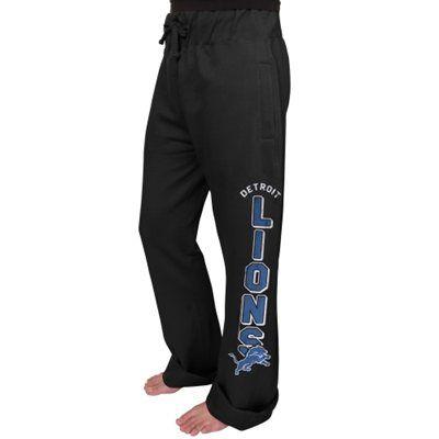 Women's Detroit Lions Junk Food Black Boyfriend Fleece Pant XL