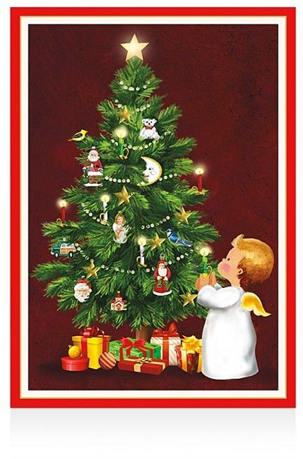 Caspari Christmas Cards.Caspari Angel With Candle Christmas Cards Box Of 16