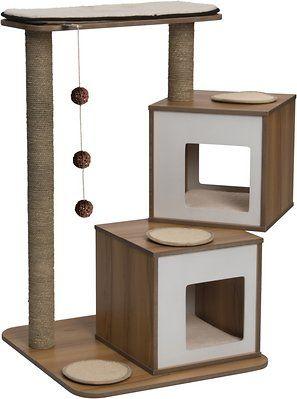 Vesper Double 40 8 In Modern Cat Tree Condo Walnut Chewy Com Vesper Cat Furniture Modern Cat Furniture Cat Furniture