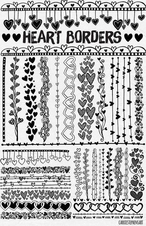 Valentine love Line Heart Border ClipArt, Heart Digital Stamps Printable for mixed media, collage, scrapbooking, cardmaking. Doodle Borders, Doodle Patterns, Zentangle Patterns, Doodle Designs, Drawing Borders, Peyote Patterns, Zentangles, Valentine Doodle, Valentine Love