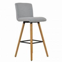 Moritz Wooden Bar Stool Light Grey Fabric Wooden Bar Stools Bar Stools Luxury Office Chairs