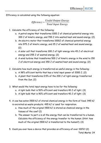Worksheet - Efficiency | Energy efficiency, Teaching ...