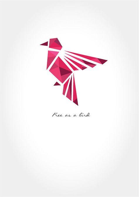 Poster Spruch - Poster Sprüche - Vogel - geometrisch  Hochwertiges