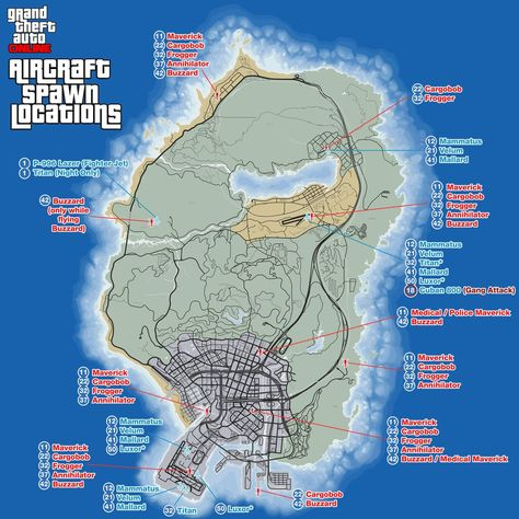 gta aircraft spawn locations on map with req levels