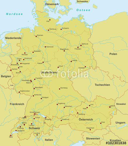 Vektor Deutschland Osterreich Schweiz Karte Detailliert Karte