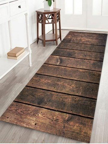 Retro Wood Board Pattern Water Absorbing Area Rug In 2020 With