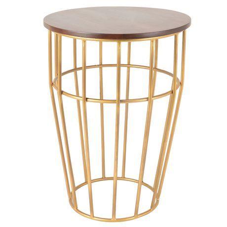 Hometrends Metal Wood Accent Table Walmart Canada Table Wood Metal