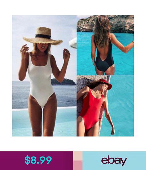 bbdfe3cd07  8.99 - Women Retro 80S 90S Elastic High Cut Low Back One Piece Swimwear  Bathing