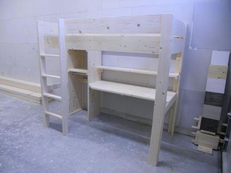 Halfhoogslaper Met Kast : Zon steigerhout meubels hoogslaper met kast ellen hoogslaper