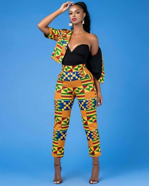how to dress well woman, african style costume in two piece pant ...