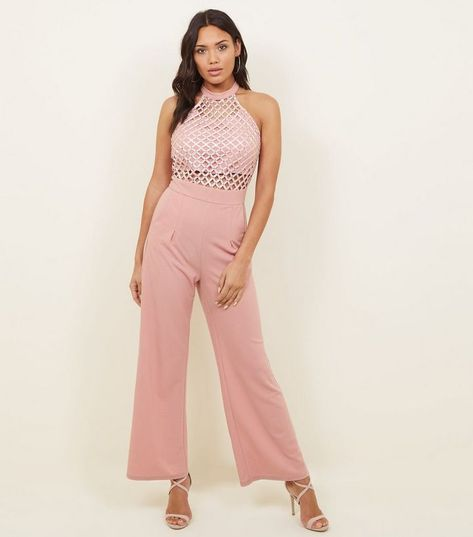 ae61312b8ee9 Cameo Rose Pink Lattice Bodice High Neck Jumpsuit