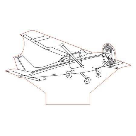 Cessna Airplane 3d Illusion Lamp Plan Vector File For Laser And Cnc 3bee Studio 3d Illusion Lamp 3d Illusions Illusions
