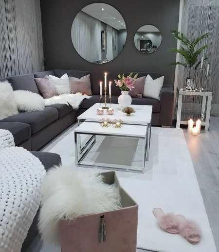 We Love This Dark Grey And Dusty Pink Cozy Living Room Decor
