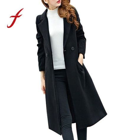 Fashion winter womens autumn long woolen coat solid trench