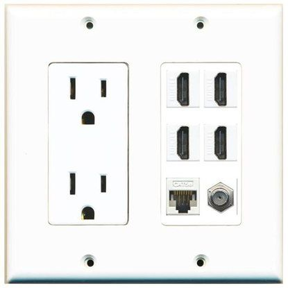 Riteav Power Outlet 4 Hdmi White Coax Cat5e Wall Plate White Plates On Wall Electrical Outlets Power Outlet