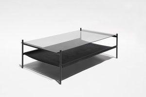 Duotone Rectangular Coffee Table Black Frame Smoked Glass