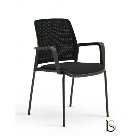 Chaise De Reunion Avec Accoudoirs Design Tema Mobel Linea Tissu Noir Chaise Structure En Acier