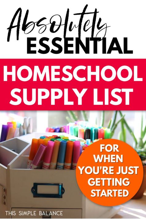 Homeschool Supply List: Kindergarten (or when you're just starting out in any elementary grade level). Just the essentials, plus homeschool reference books that are helpful - and inspiring - to have on hand! Homeschool Supplies, Homeschool Kindergarten, Homeschool Books, Homeschooling Resources, Kindergarten School Supply List, Teacher Supplies, Preschool Education, Free Preschool, Preschool Printables