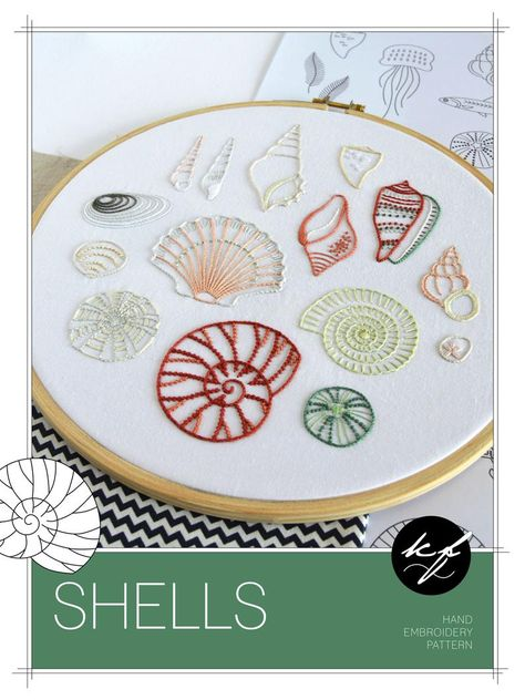 Shells hand embroidery pattern, a modern embroidery pattern PDF for 15 seashells
