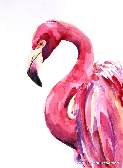 Flamingo Bird Painting  Bird watercolor by OrientalArt2029 on Etsy