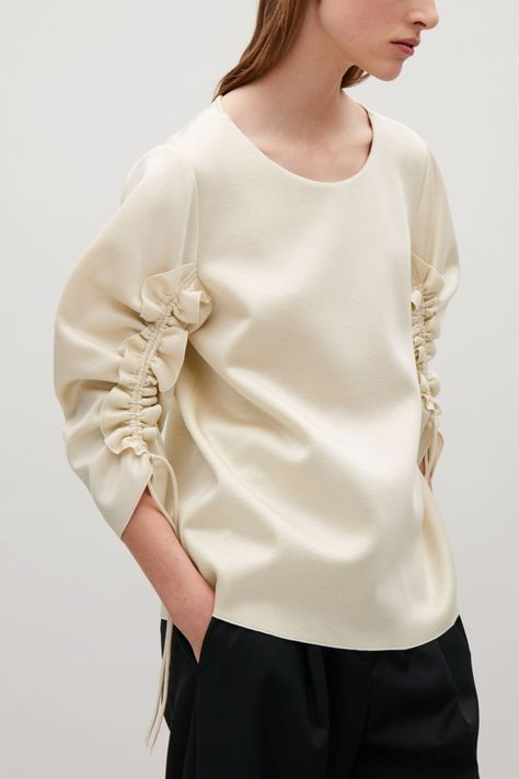 COS   Scuba top with gathered frill sleeves