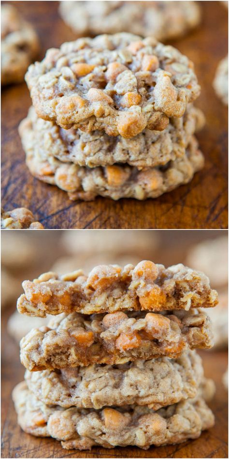 Soft and Chewy Oatmeal Scotchies Cookies - My favorite oatmeal cookie base loaded with sweet butterscotch chips! A classic cookie that you just have to try!