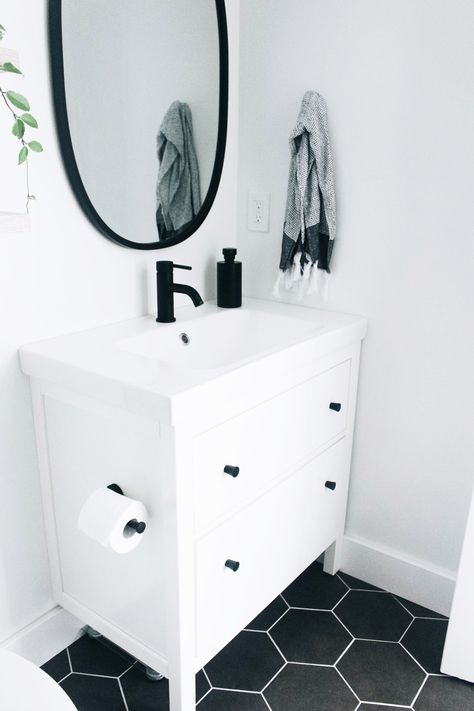 Our Master Bathroom Fixer Upper & Simply Well Spent & Ikea Hemnes Vanity in White and Odensvik Sink & Dark Grey Hexagon Floor Tile & & The post Our Master Bathroom Fixer Upper — Simply Well Spent appeared first on MM Bathrooms. Bathroom Floor Tiles, Bathroom Fixtures, Mirror Bathroom, Bathroom Cabinets, Bathroom Canisters, Bathroom Storage, Wall Mirrors, Bathroom Organization, White Bathroom Mirror