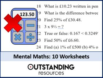 Mental Math Worksheets 10 Worksheets X 40 Questions Answers