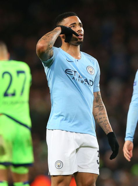 Gabriel Jesus of Manchester City celebrates after scoring the seventh...