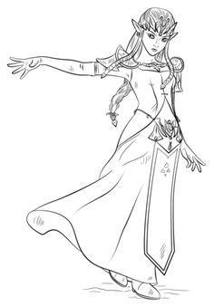 Princess Zelda Coloring Page раскраски Coloriage Zelda