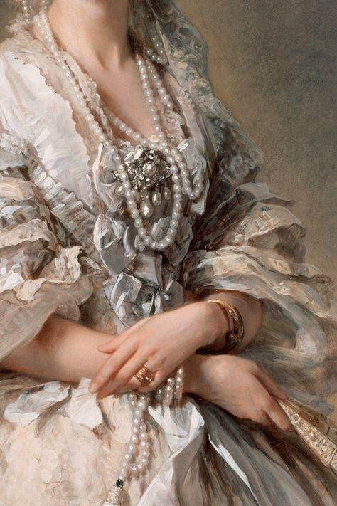 """Portrait of Empress Maria Alexandrovna"" (1857) (detail) by Franz Xaver Winterhalter (1805-1873)."