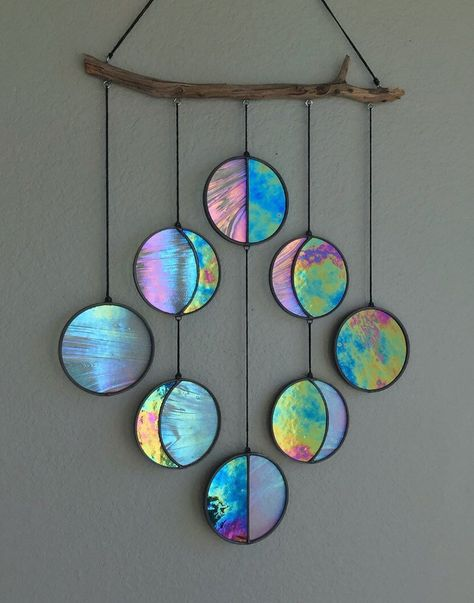 Clear and Rainbow Iridized Moon Phase Hanging // Celestial Art // Moon Phase Wall Decor // Stained Glass Moon Phase // Phases of the Moon // Old Cd Crafts, Diy And Crafts, Arts And Crafts, Paper Crafts, Recycled Cd Crafts, Stained Glass Patterns, Stained Glass Art, Diy Room Decor, Wall Decor