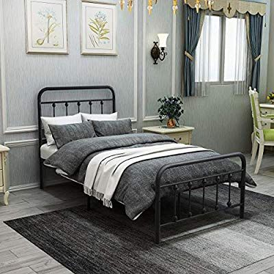 Amazon Com Dumee Metal Bed Frame Twin Size Platform With Vintage Headboard And Footboard Sturdy Premium Stee In 2020 Metal Platform Bed Twin Bed Frame Metal Bed Frame