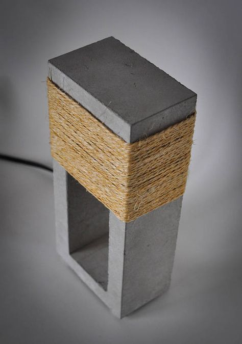 black table lamps with crystals Click Visit link to see more at Lamps Are Decorative And Functional Too. brushed nickel table lamp with square white shades set of 2 table lamps blue glass table lamps Concrete Furniture, Concrete Lamp, Concrete Design, Furniture Design, Concrete Crafts, Concrete Projects, Concrete Sculpture, Bois Diy, Large Lamps
