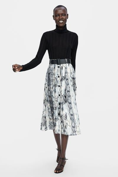 ZARA DARK GREEN PRINTED PLEATED SKIRT SIZE S,M