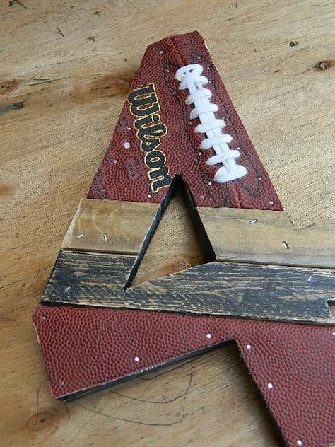 Upcycled sports number - no longer on etsy :(. Cool Wood Projects For Guys Football Crafts, Football Boys, Football Banquet, Football Decor, Sports Decor, Football Sayings, Football Season, Cheer Gifts, Sports Gifts