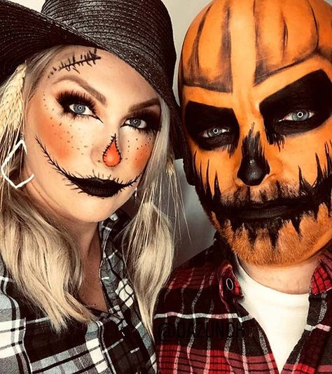 46 Great Halloween Costume Ideas Attending Halloween celebrations with your other half? Then consider a couples Halloween costume. There are so many amazing costumes that can involve the both of you. Costume Halloween, Scary Couples Halloween Costumes, Scarecrow Halloween Makeup, Looks Halloween, Halloween Diy, Mens Halloween Makeup, Couple Costume Ideas, Voodoo Costume, Halloween Costumes Scarecrow