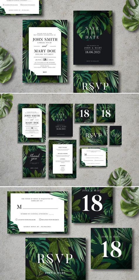 Tropical Wedding Invitation Suite Template AI, PSD