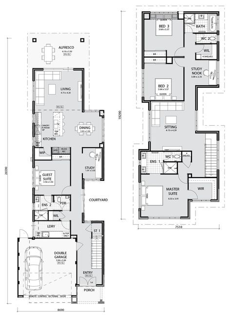 Floorplan Narrow Lot House Plans Narrow Lot House Narrow House Plans