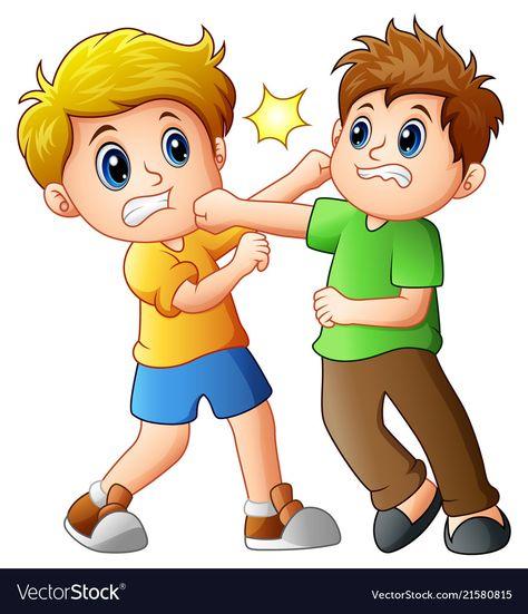 Cartoon boy kicking others Royalty Free Vector Image - Mandala -
