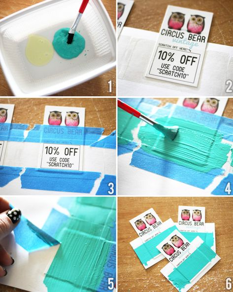 DIY scratch-off cards. (2 parts acrylic paint to 1 part dish soap. Genius!) via The Dainty Squid