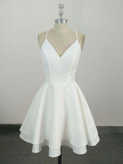 White v neck satin lace short prom dress, white homecoming dress - us:6 / custom color