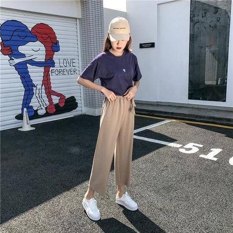 2019 Women Casual Loose Wide Leg Pants Womens Elegant Fashion Preppy Style Trousers Female Pure Color Females New Palazzo Pants - PrintiLya