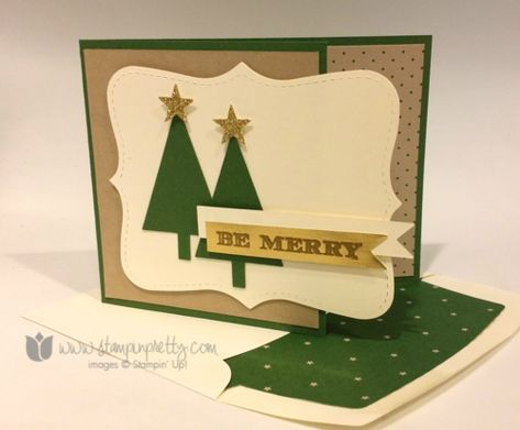 Stampin up stampin' up! holiday invitation card tree punch love love love this set trim the tree dsp; garden green, vanilla, crumb cake cardstock; gold foil sheet; versamark; gold EP; itty bitty accents punch; thinlits; liner; topnote die; bigshot; glimmer paper
