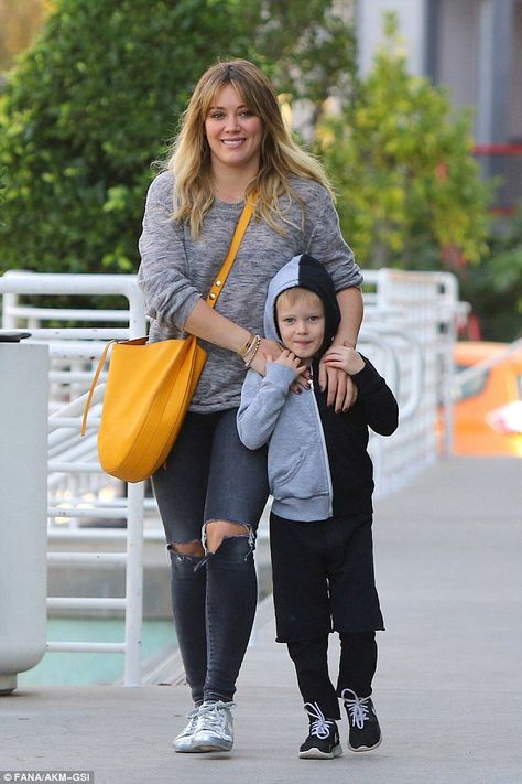 Hilary Duff holds hands with son Luca as they go Christmas tree shopping in LA