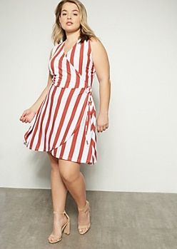 2ca22874030c1 Plus Red Striped Sleeveless Surplice Dress | I'd Totally Wear That ...