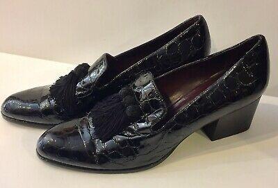 Stuart Weitzman Razmataz Heeled Loafers Croc Embossed Patent Leather Size 11 Ebay Heeled Loafers Gold Strappy Heels Strappy Sandals Heels