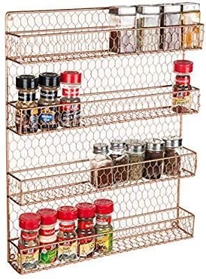 4 Tier Copper Tone Country Rustic Chicken Wire Pantry Cabinet Or Wall Mounted Spice Rack Storage Orga Wall Mounted Spice Rack Spice Rack Storage Funky Kitchen