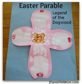 This wonderful poem and craft share the Legend of the Dogwood. It is a poem about Christ's dying on the cross. #easterkids #craft #handprint